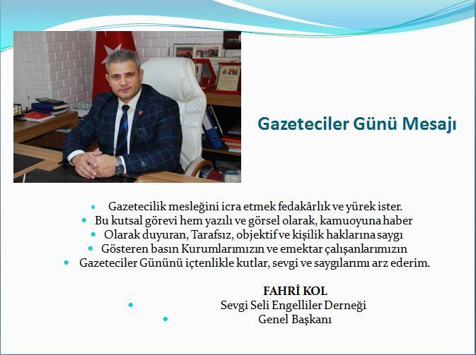 Genel Başkan Fahri KOL dan Gazeteciler Günü Mesajı